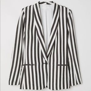 H&M striped linen blend blazer